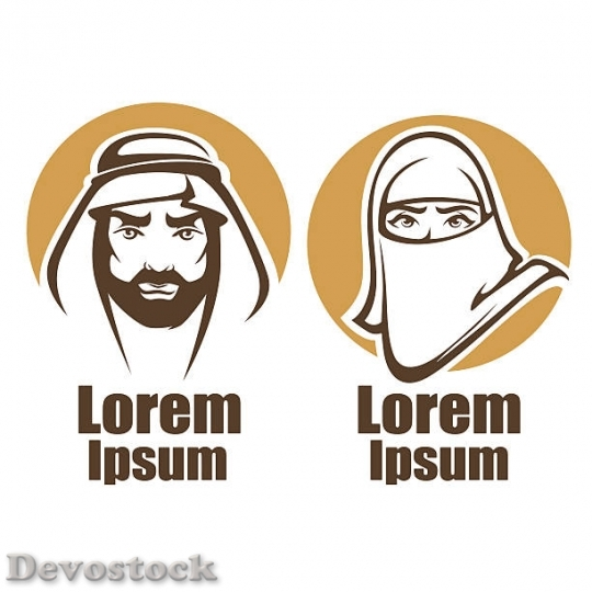 Devostock vector-muslim-faces-vector-emblems-collection-vect$2