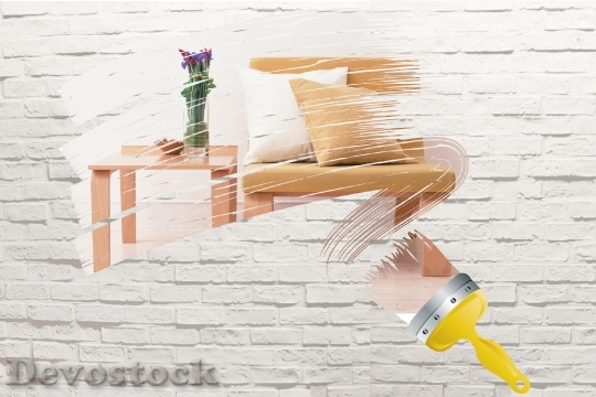 Devostock Paintbrush Painting Wall With