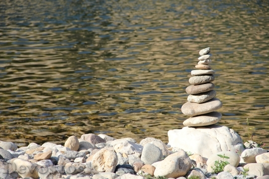 Devostock Stone Pile Pebble Stack