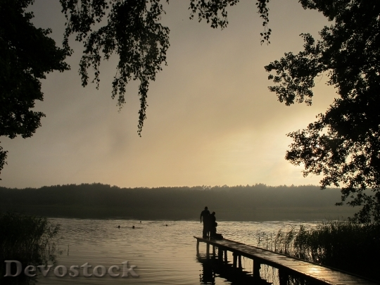 Devostock The Fog Lake Evening